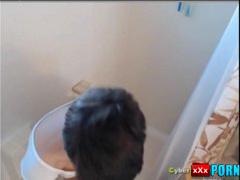 Beautiful tattooed babe enjoying shower