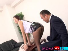 Japanese milf in stockings fucked at office