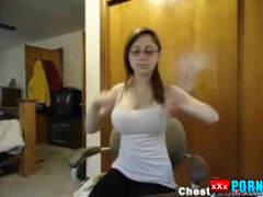 Natural busty teen dancing
