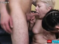 Granny fucks a young grandson and his girlfriend.