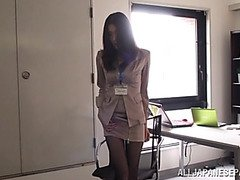 Naughty Asian office girl entertains the office