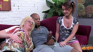Pigtailed brunette and blonde mom have FFM interracial sex