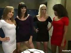 Four babes fuck machine anally in locker room