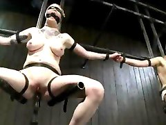 Strapped and blindfolded babes fucked by machines