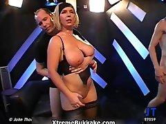 Busty blonde slut goes crazy sucking