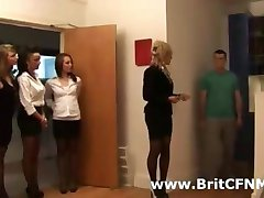 Group of British CFNM women strip man in the kitchen