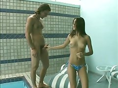 Cute Spanish babe sucks dick, gets her pussy pounded by the pool