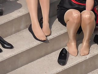 Candid 4 Hostesses Feet in Nylons Pantyhose