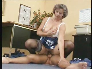 Visiting the principal leads to fucking MILF in stockings