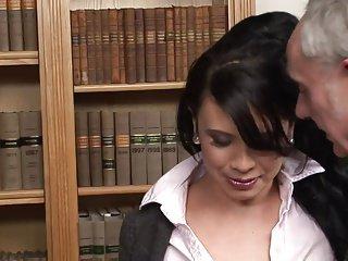 Pretty face babe enjoys giving an ass licking to an older du