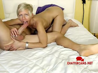 Blonde MILF Gives LIVE Anal Fingering Blowjob