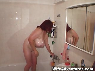 Busty mature redhead fucked in the ass and gets a cumshot