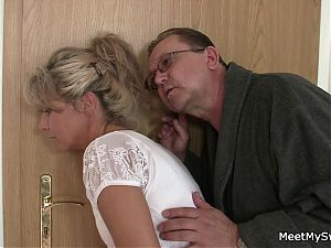 His old mom and dad tricks her into threesome