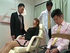 Group of men fuck an Asian wife hardcore in front of her husband
